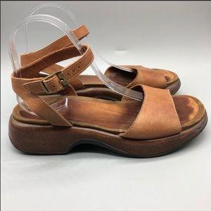 Dansko Lara leather ankle strap platform sandals